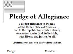 Vocabulary Pledge Of Allegiance Printable Handout By Tspeelman