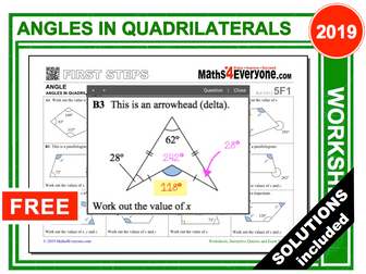 Angles in Quadrilaterals (Worksheets with Solutions)