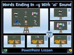 'y' at the end of a word with a long 'i' sound: the /aɪ/ sound - PowerPoint Lesson