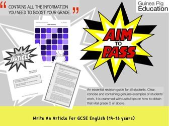 Write An Article (GCSE English Writing Work Pack) (14-16 years)
