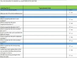 Unit 9  Principles of Marketing Whole unit Targeted Revision Questions  Progress Tracker
