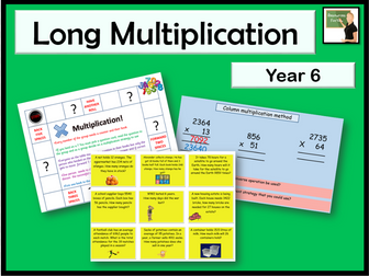 Maths Long multiplication method Year 6 multiply multi-digit numbers up to 4 digits by a two-digit