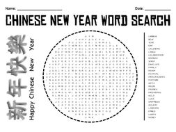 Chinese New Year Wordsearch