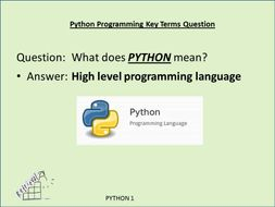 PYTHON STARTER/REVISION Powerpoint/CARDS -to support learning of Basic Key Terms for starting Python