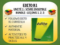 EDITO B1 - Unité 1 - Vivre Ensemble - 3 Lessons pack