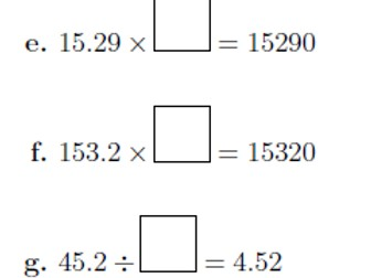 Multiplying and dividing decimals and whole numbers by 10