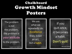 growth mindset posters chalkboard theme