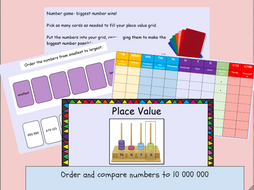 Maths- Number and Place Value Year 6 lesson- order and compare numbers to 10 000 000
