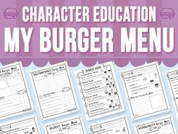 Character Education - My Burger Menu
