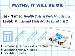 FS Maths Money Level 1 and 2 Exam Style - Health Cuts and Weighing Scales