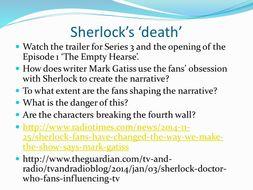 A2 Media Studies (MS4) TV Industry Resources - Sherlock