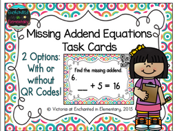Missing Addend Equations Task Cards