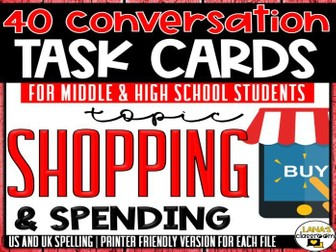 Conversation Starter Cards | Shopping | Social Skills for Middle&High