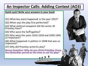 An Inspector Calls and Context