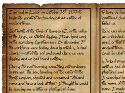 Howard Carter Diary Comprehension