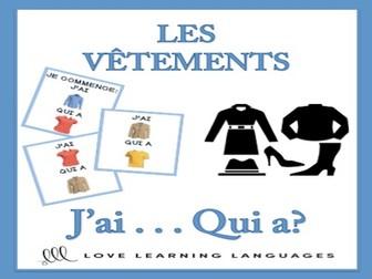 GCSE FRENCH: J'ai... Qui a? French Clothes Vocabulary Game - Les Vêtements