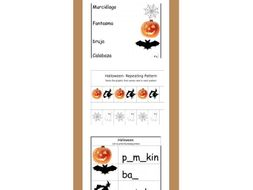 Halloween. Spanish and English writing and reading + Repeating Patterns