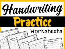 Handwriting practice worksheets - Cursive and primary font