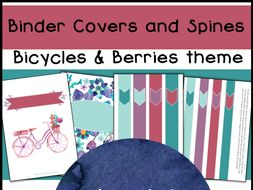 editable binder covers and spines bicycles berries color scheme