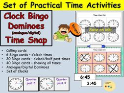 Telling the Time :  Clock Bingo, Calling cards, Dominoes (analogue/digital), Time snap Game